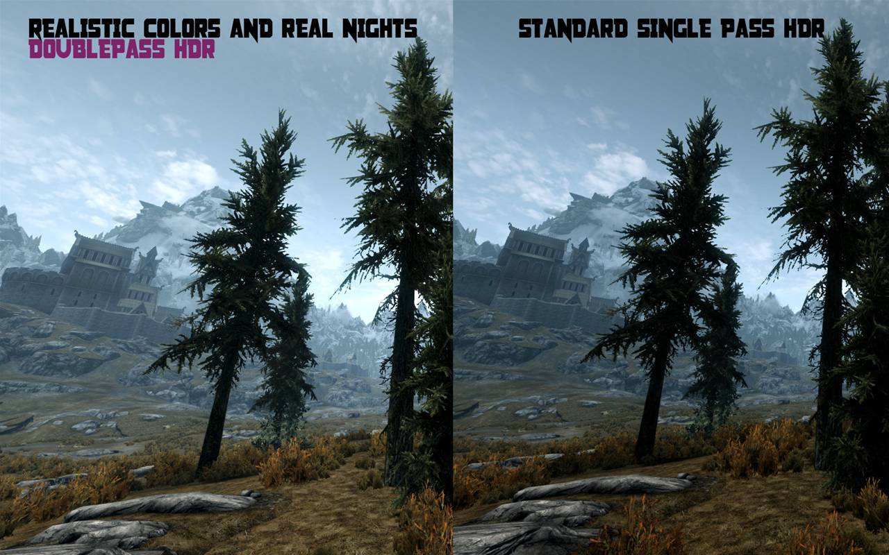 Skyrim Comparison Adaptive Hdr Makes The Game Look Like