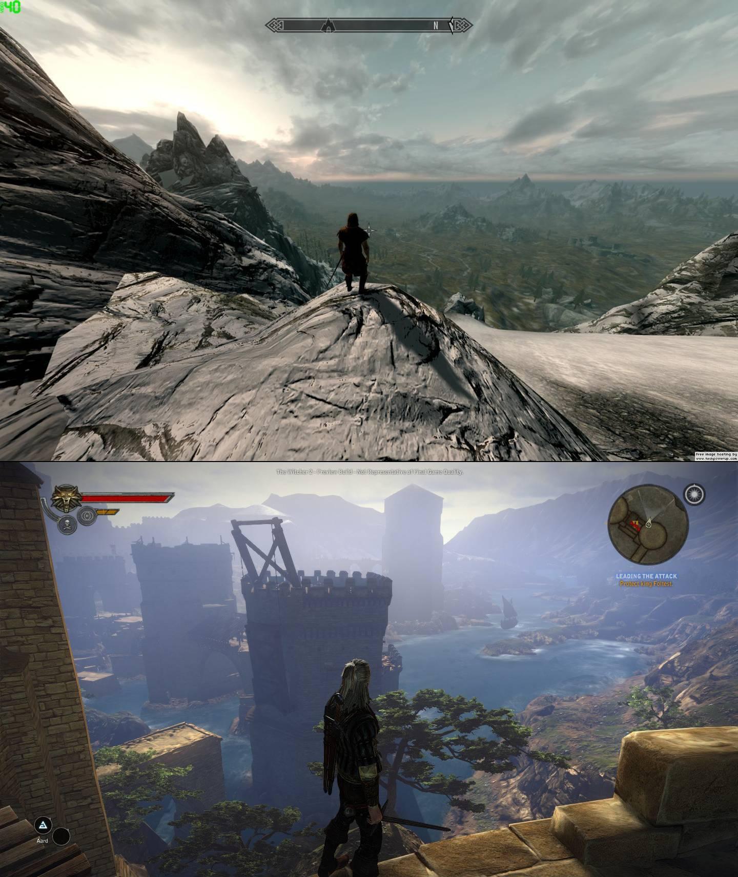 Skyrim Vs Witcher 2 Screenshot Comparison Battle Of The