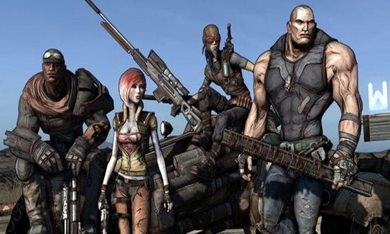 From left to right, Roland as the Soldier, Lilith as the Siren, Mordecai as the Hunter, and Brick as himeslf.