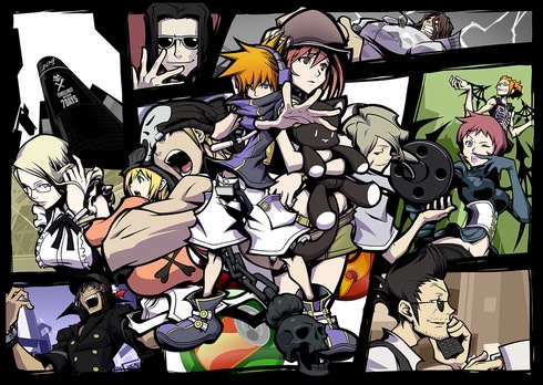 These are some of the characters you meet in the game.  The main character is Neku (the guy with his hand out in the purple).