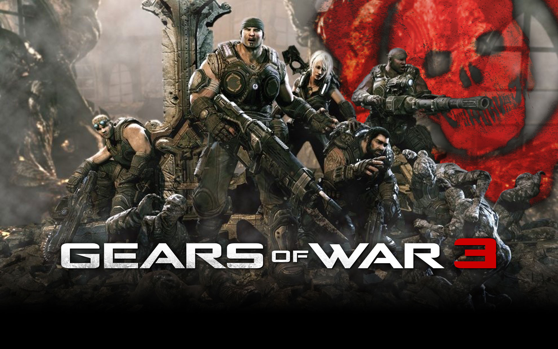 gears of war 3 group with gears cog