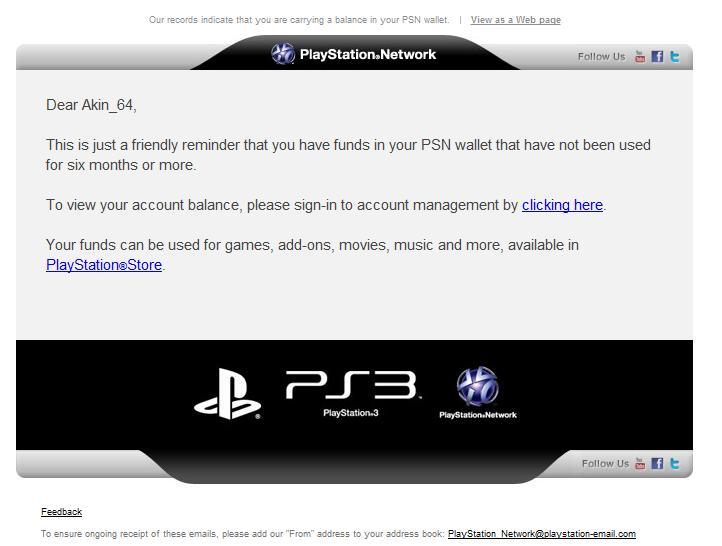 fake psn phishing email being sent to users