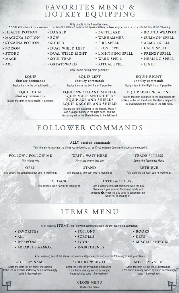 Kinect voice commands for Skyrim revealed [Infographic]