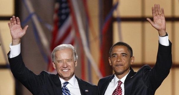 Democratic presidential nominee U.S. Senator Barack Obama waves with vice presidential nominee Joe Biden after his speech at the 2008 Democratic National Convention in Denver