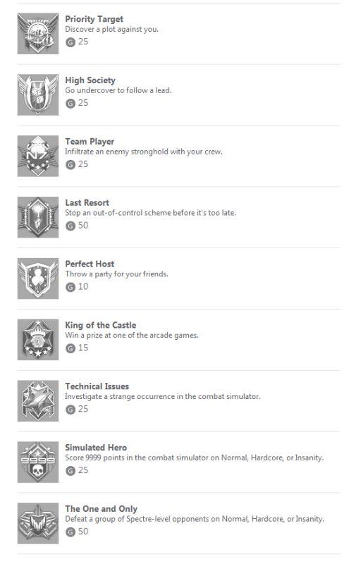ME3 Citadel Achievements