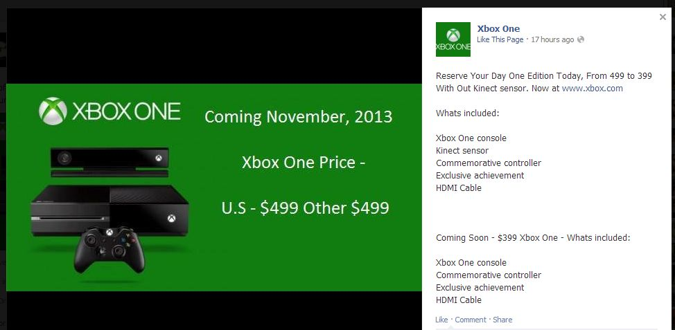 xbox one for 399 without kinect