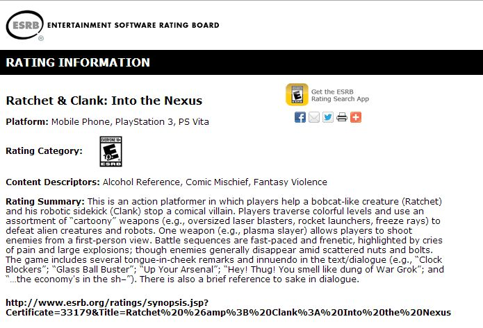 Ratchet and Clank Into the Nexus_ESRB