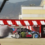 Ken Block sliding under a container during the filming of Gymkhana 6.