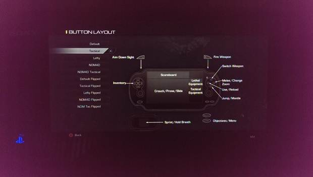 call of duty ghosts ps vita controls
