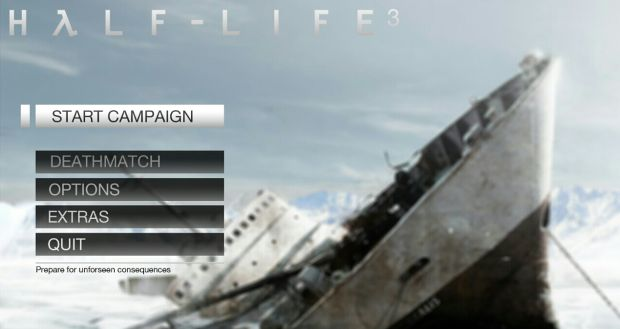 Half Life_main menu mock-up