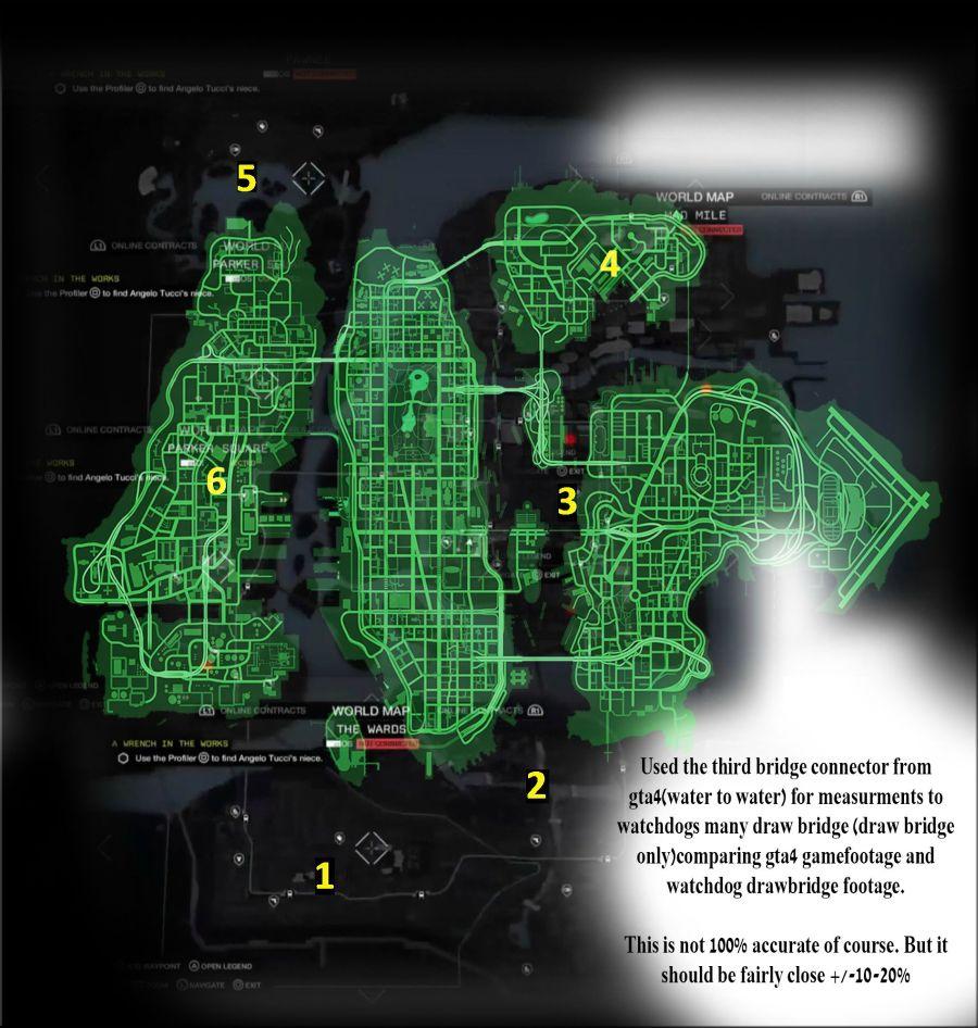 Watch Dogs vs GTA4 map size