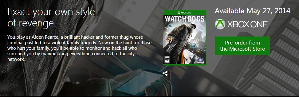 Watch Dogs_Xbox One listing