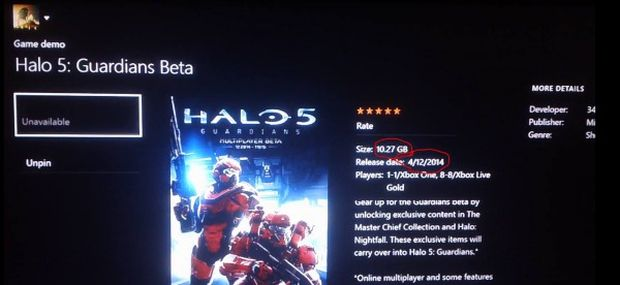 Halo 5 Guardians beta size