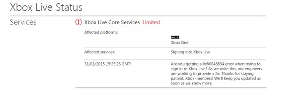 xbox live core service issues fix