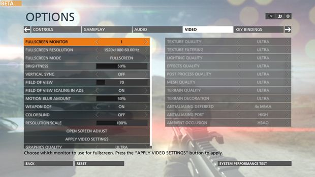 battlefield hardline pc graphical settings