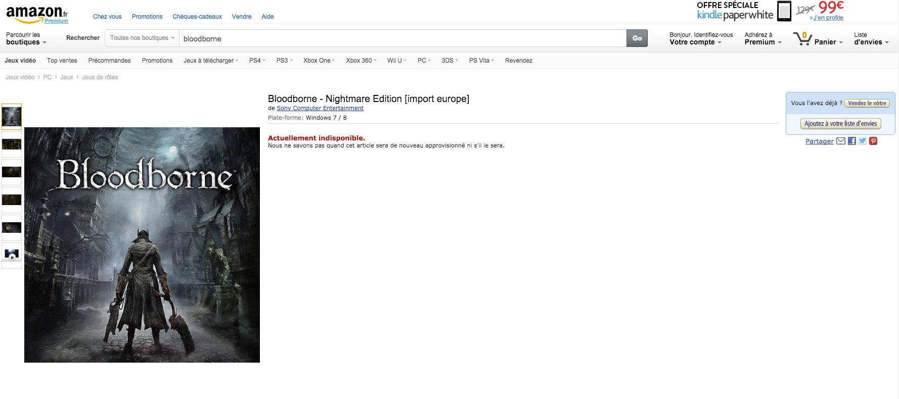 Bloodborne PC Amazon Listing