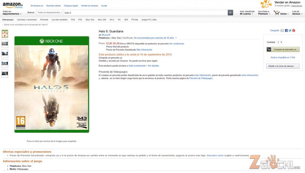 Halo 5 Listed On Amazon Spain