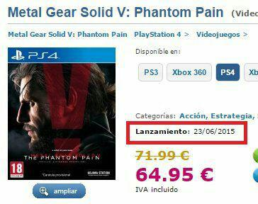 metal gear solid 5 the phantom pain release date