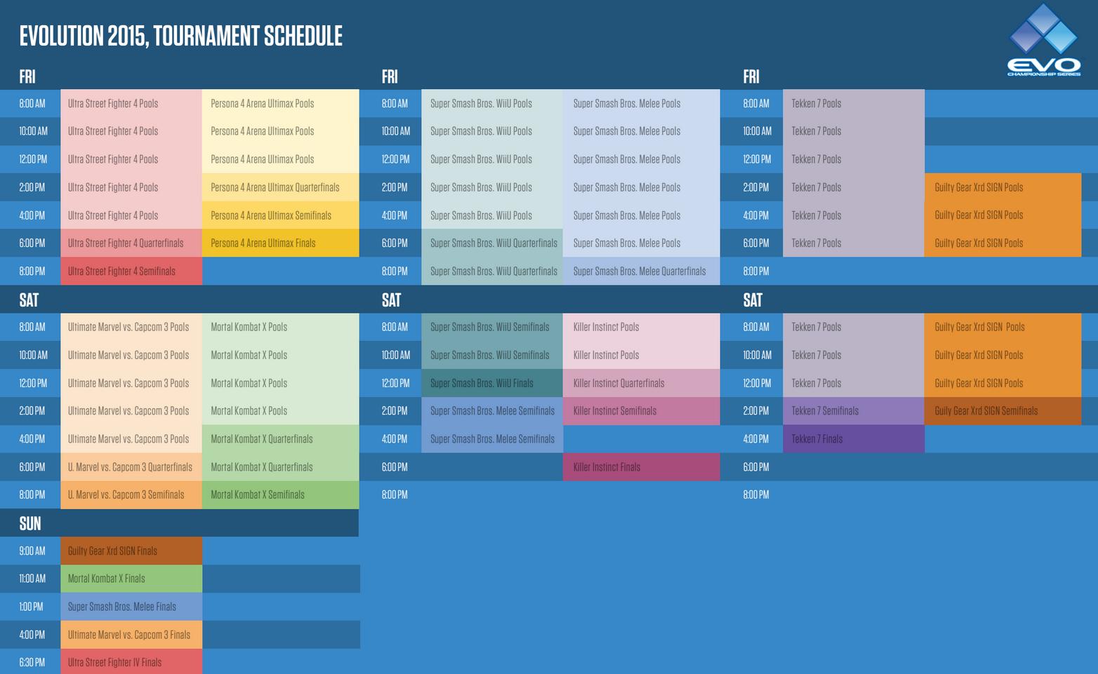 EVO 2015 schedule