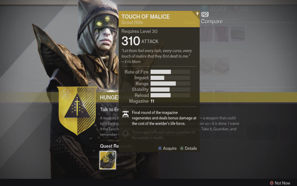 Destiny how to get the touch of malice exotic scout rifle