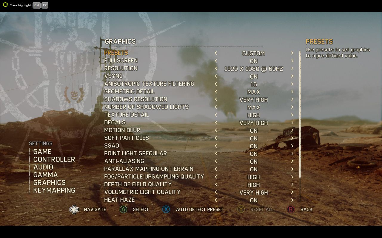 MAD MAX PC GRAPHICS SETTINGS