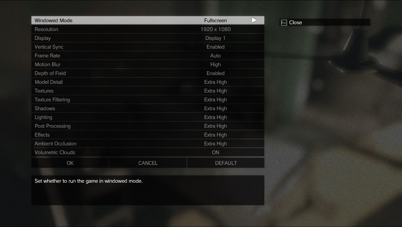 METAL GEAR SOLID 5 THE PHANTOM PAIN PC GRAPHICS OPTIONS