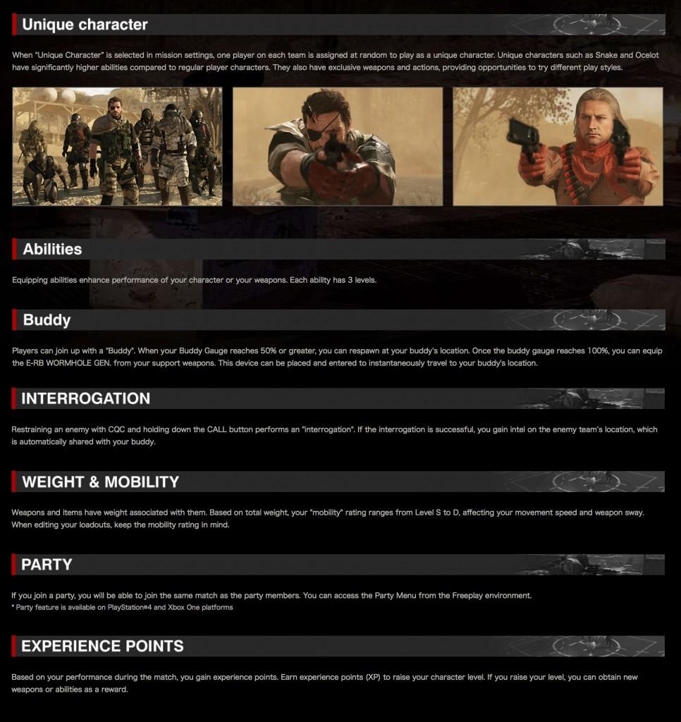 Metal Gear Online 3 Unique Characters