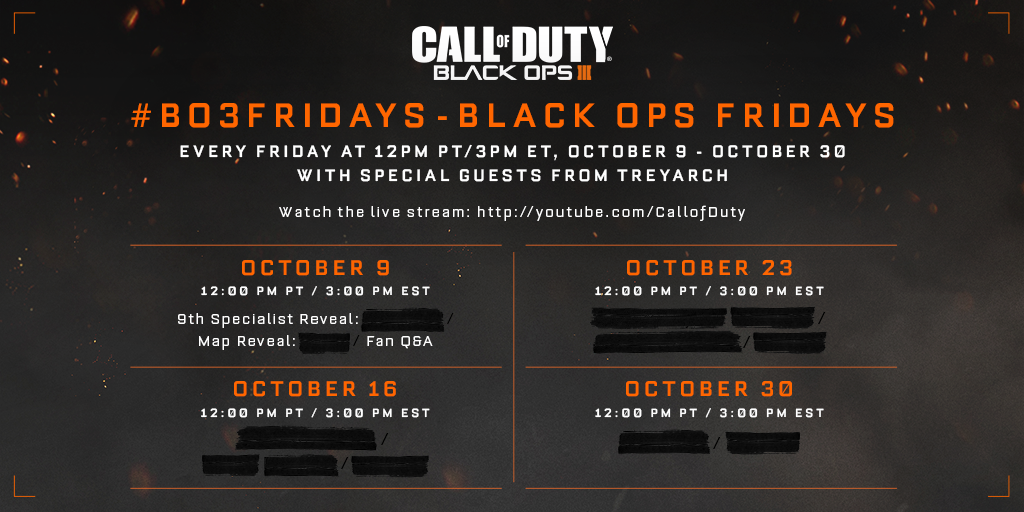 black ops 3 october schedule