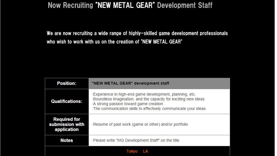 new metal gear job listings