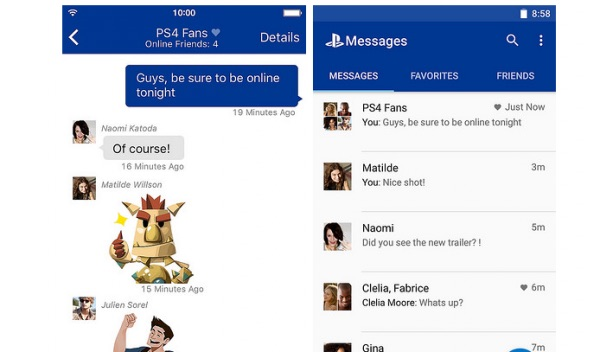 playstation messaging app