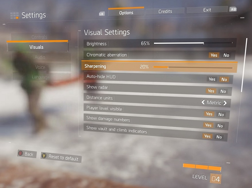 the division consoles graphics menu