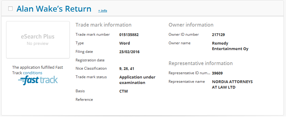 alan wake's return trademark