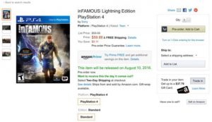 inFamous Lightning Edition Heading to PS4 According to Amazon Listing