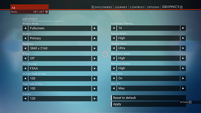 no man's sky pc settings menu