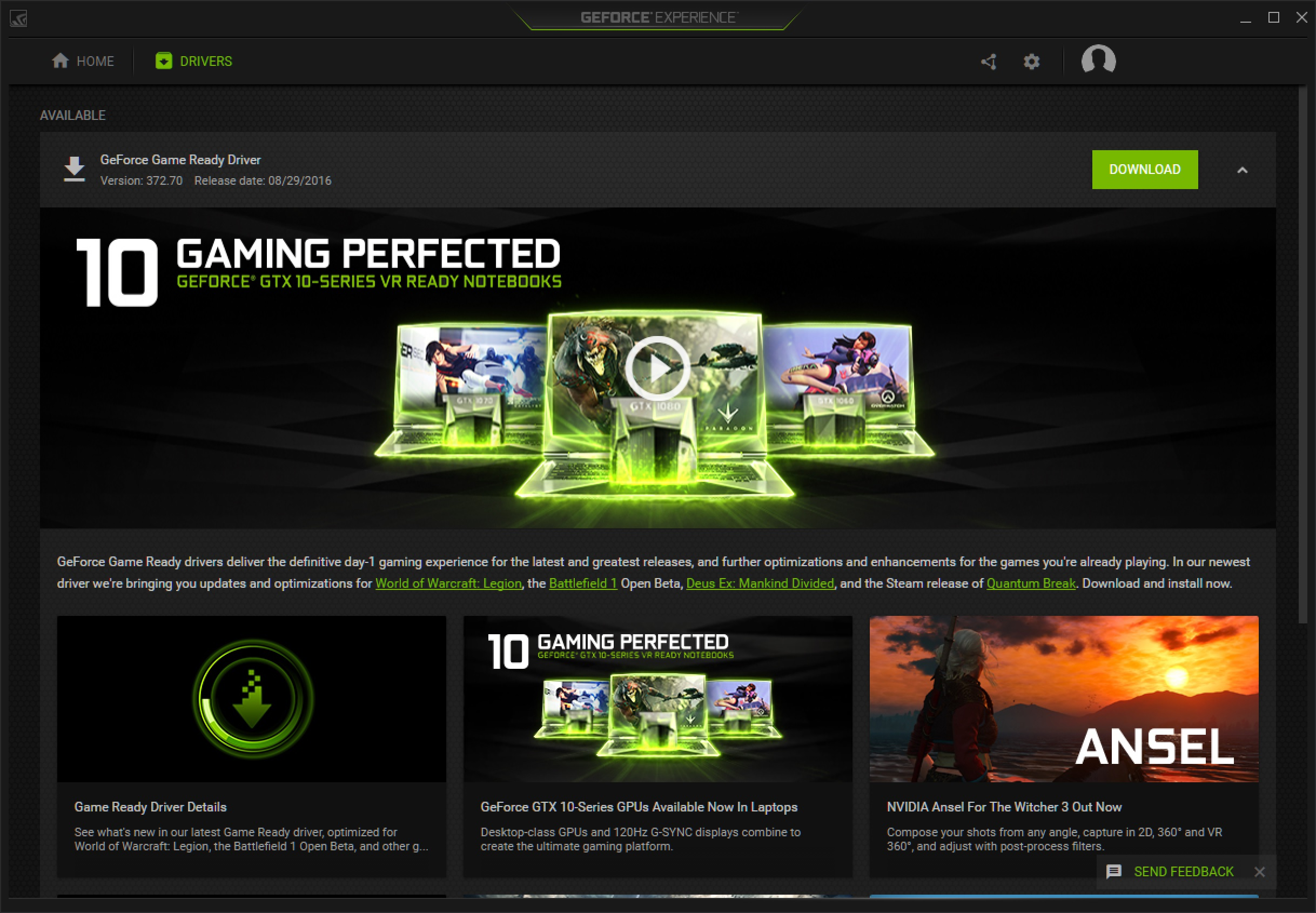 geforce experience experimental features checking for updates