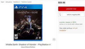 Middle-Earth Shadow of War Listing Spotted, Out on August 22nd – Rumour