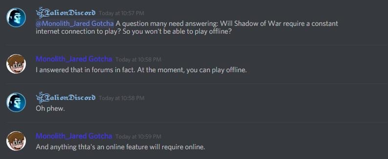 shadow of war no online