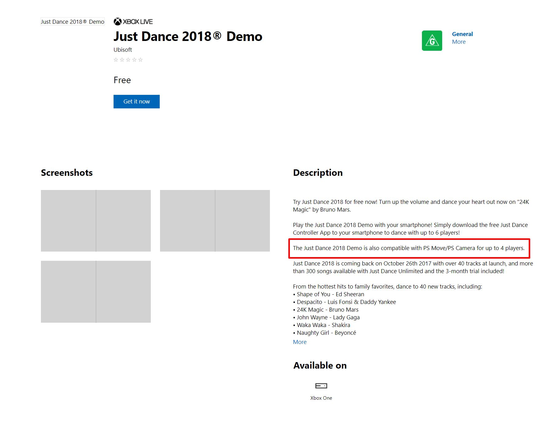Just Dance 2018 Demo Page On Xbox One Store Hilariously