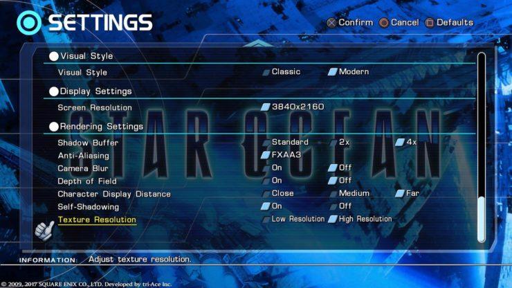 star ocean 4 remaster settings