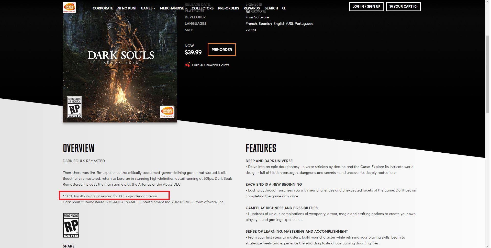 Dark Souls Remastered discount
