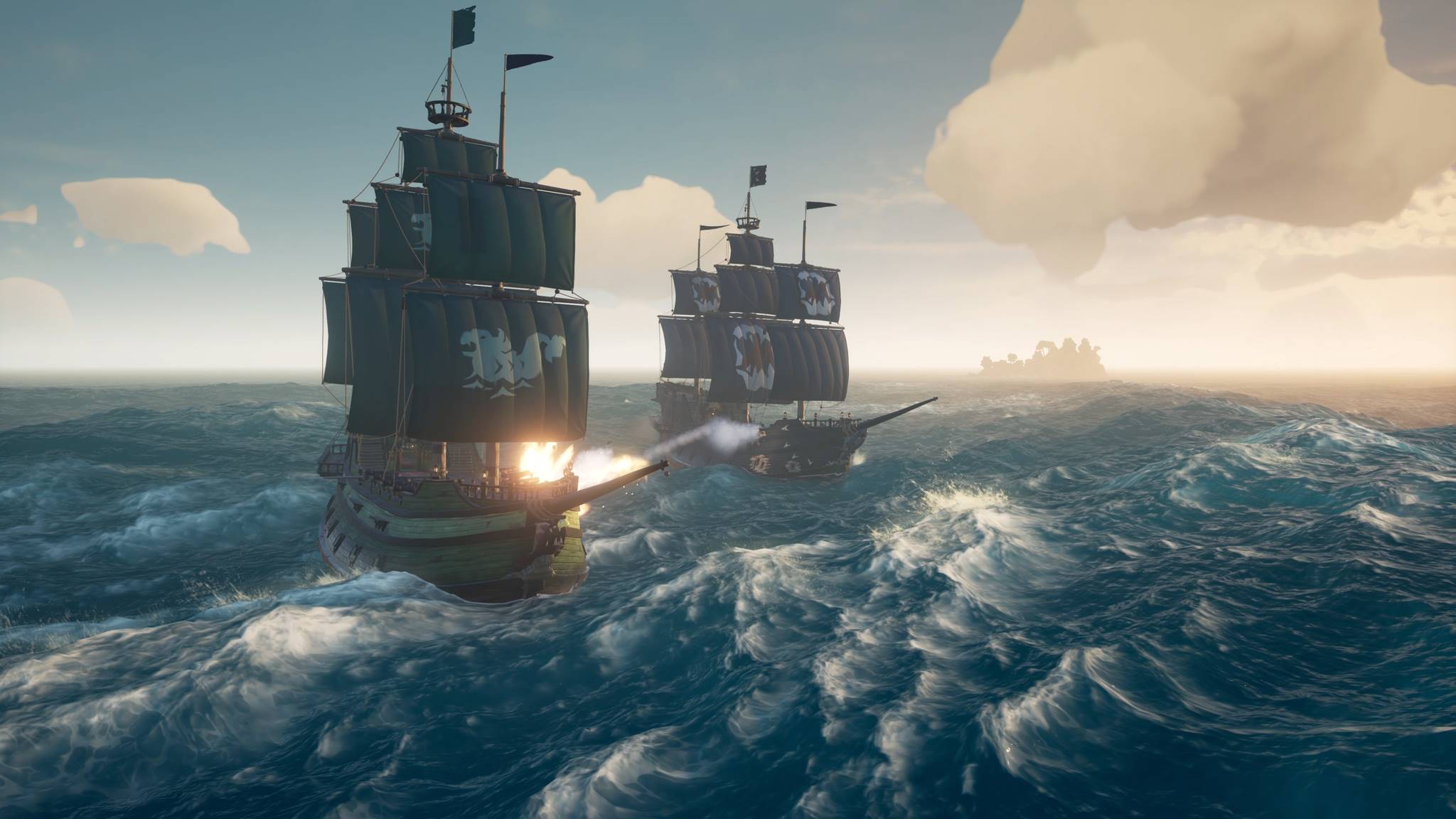 Ships facing off in Sea of Thieves' Arena mode