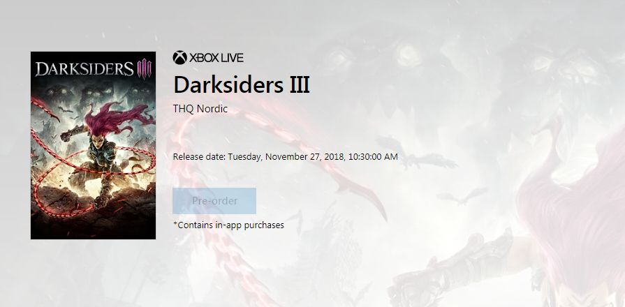 Darksiders 3 retail listing