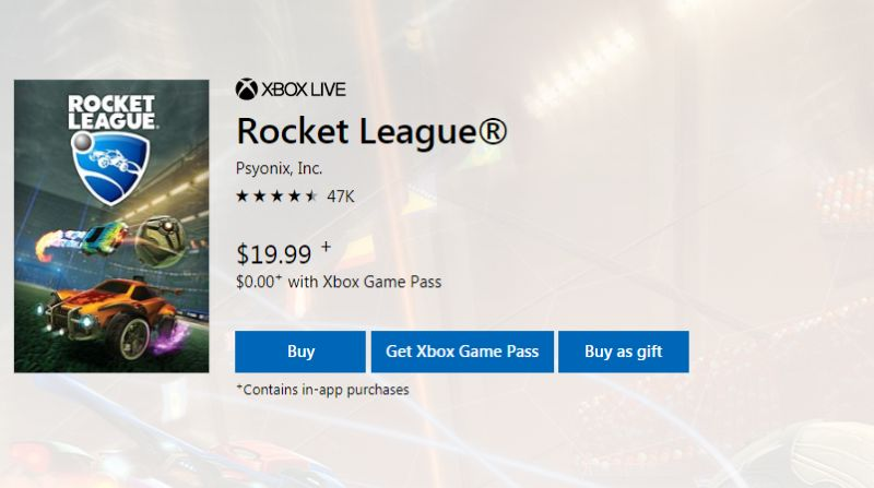 Rocket League Microsoft Store listing