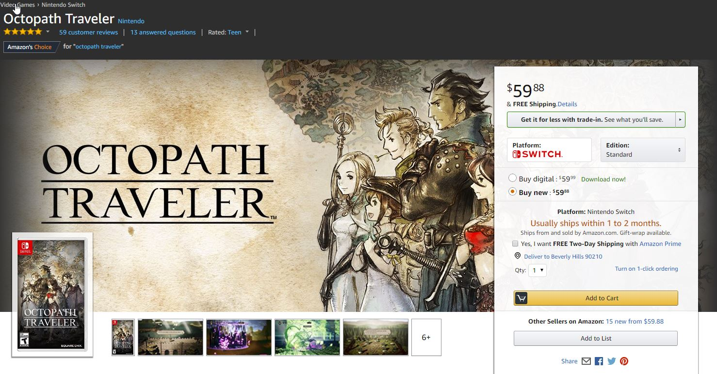 octopath traveler sold out