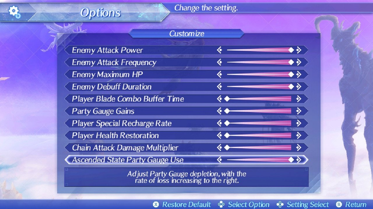 xenoblade 2 difficulty slider