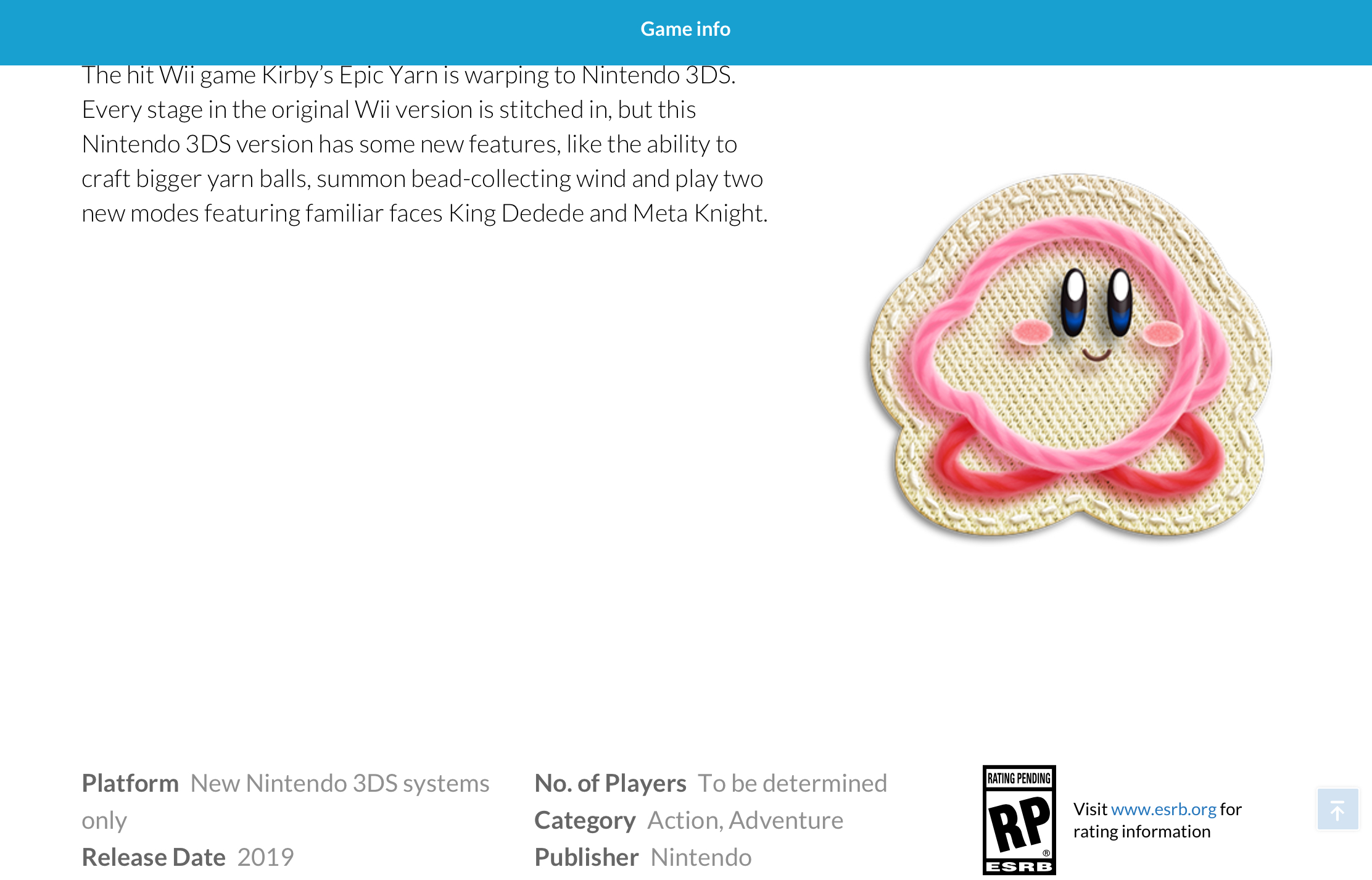 Kirby's Extra Epic Yarn Store Page