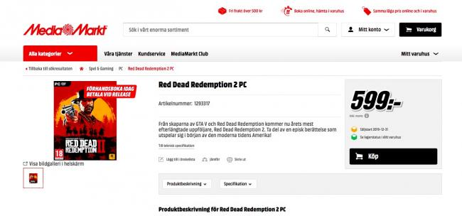 RDR2 PC listing