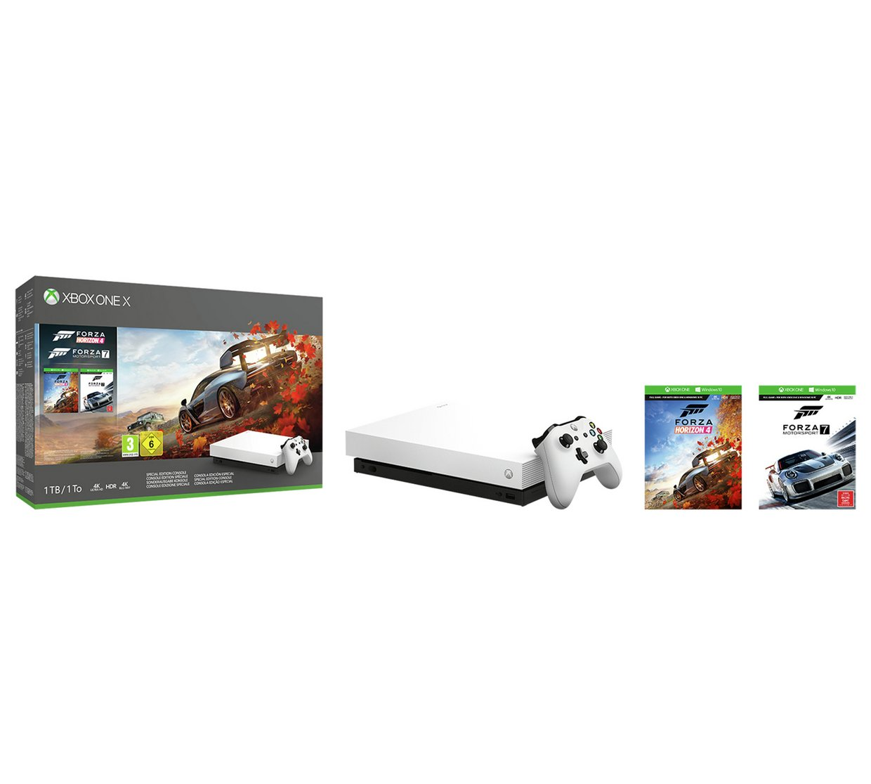 xbox one x bundle with forza horizon 4 and forza. Black Bedroom Furniture Sets. Home Design Ideas