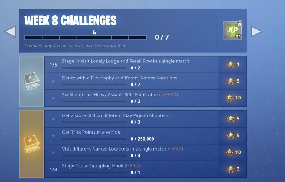 fortnite season 6 week 8 challenges