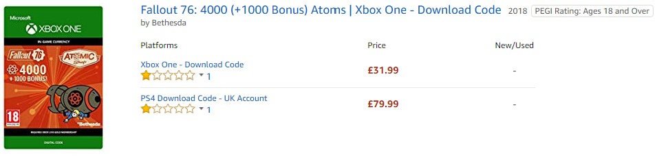 Amazon UK Fallout 76 Atoms PricingAmazon UK Fallout 76 Atoms Pricing